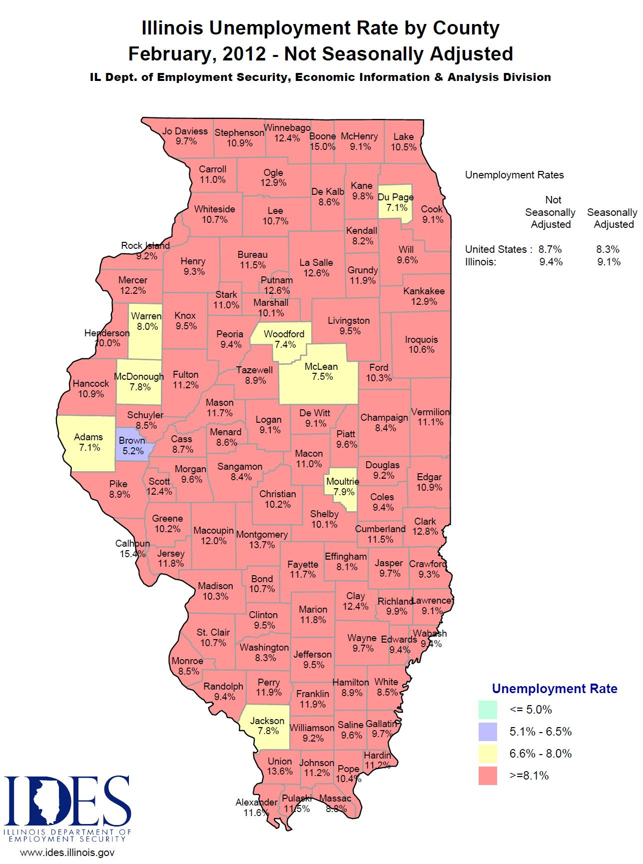 2012 February IL Unemployment Map by County